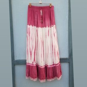 Lapis | Long Flowy Boho Pink & Whte Tie Dye Skirt